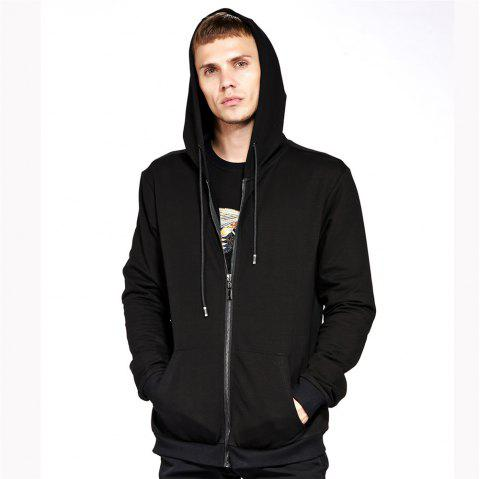 Men's Hoodie Casual Fashion Solid Color All Match Long Sleeve Hoodie - BLACK L