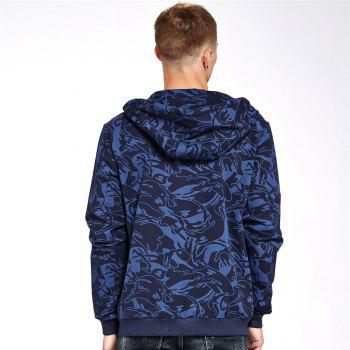 Men's Hoodie Casual Color Block All Match Long Sleeve Hoodie - BLUE L