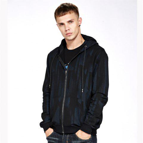 Men's Hoodie Casual Loose Print All Match Long Sleeve Hoodie - BLACK L