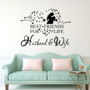 DSU English Proverbs Home Words and Love Man Sitting Room Bedroom Wall Stickers - BLACK BLACK