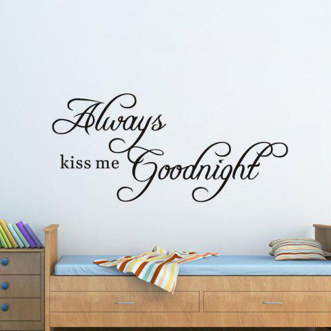 DSU Always Kiss Me Goodnight Wall Decals Quotes Vinyls Stickers Wall Stickers Home Decor Living Room - BLACK 58X26CM