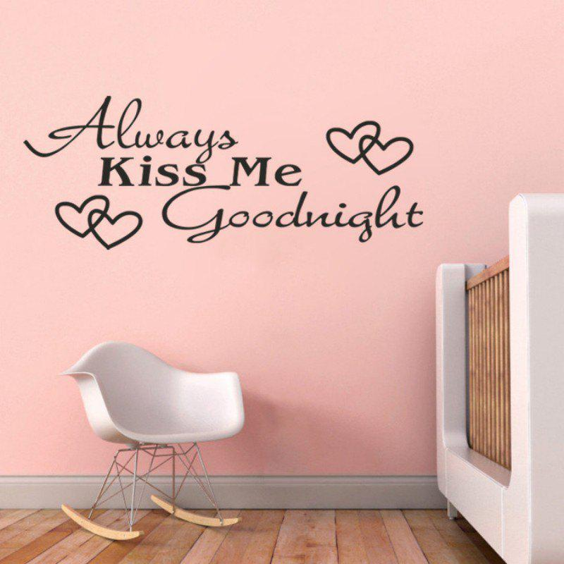 DSU Always Kiss Me LOVE Heart Quotes Vinyls Stickers Wall Stickers Home Decor Living Room - BLACK 58X23CM