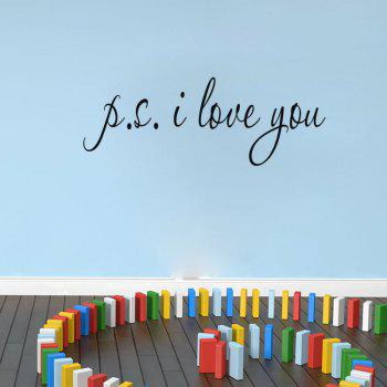DSU Je t'aime Citations Vinyles Amour Wall Sticker Amovible Vinyle Decal Home Decor - Noir 56X25CM