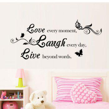 DSU Live Laugh Love Quotes Wall Decals Home Decorations Adesivo De Paredes Removable Diy Wall Stickers - BLACK BLACK
