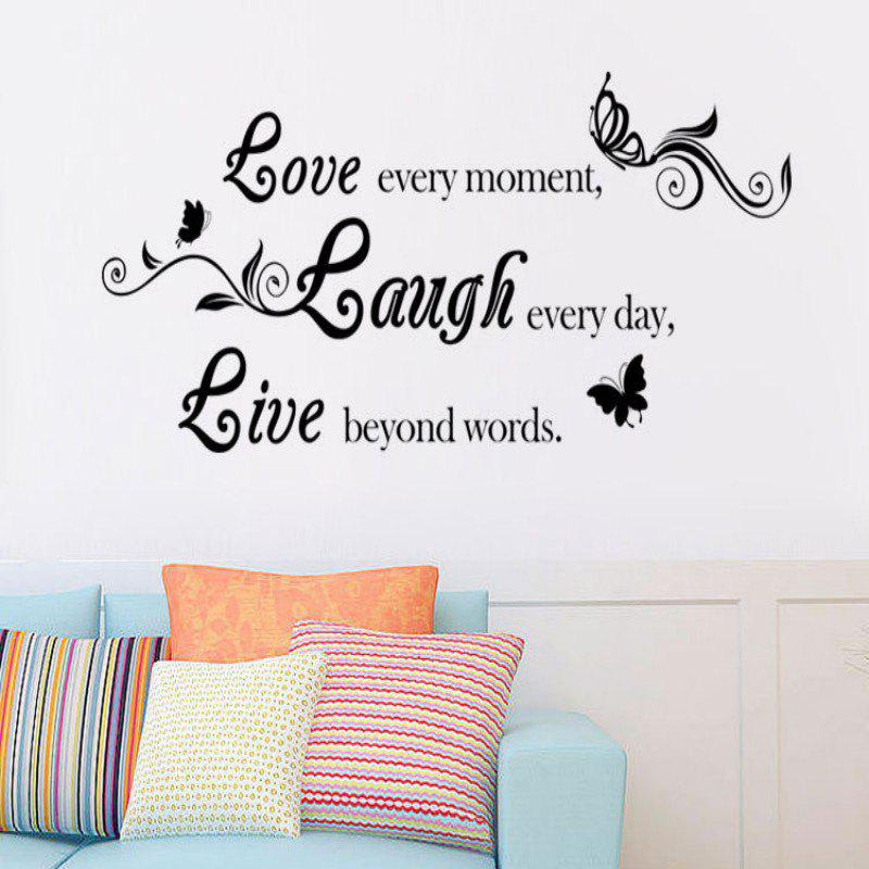 DSU Live Laugh Love Quotes Wall Decals Home Decorations Adesivo De Paredes Removable Diy Wall Stickers - BLACK 40X80CM