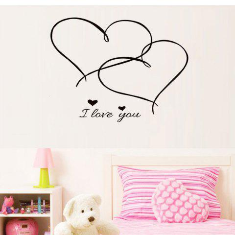 DSU Couples Together Forever Hearts Bedroom Love Wall Sticker Removable Vinyl Decal Home Decor - BLACK 43X35CM