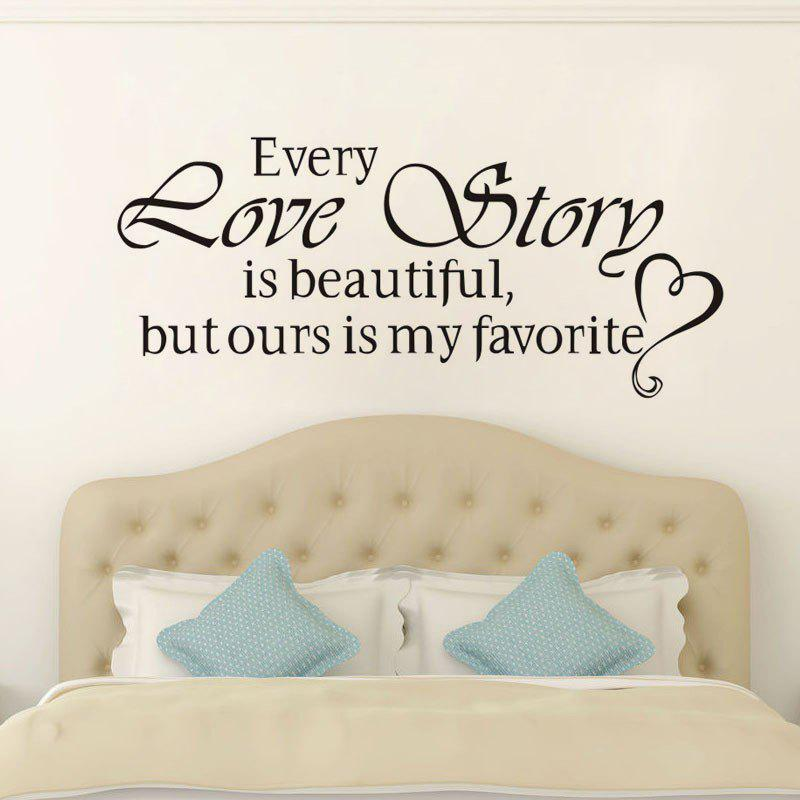 DSU Love Story Quote Wall Sticker, DIY Home Decoration Wall Art Decor Wall Decal - BLACK 45X20CM