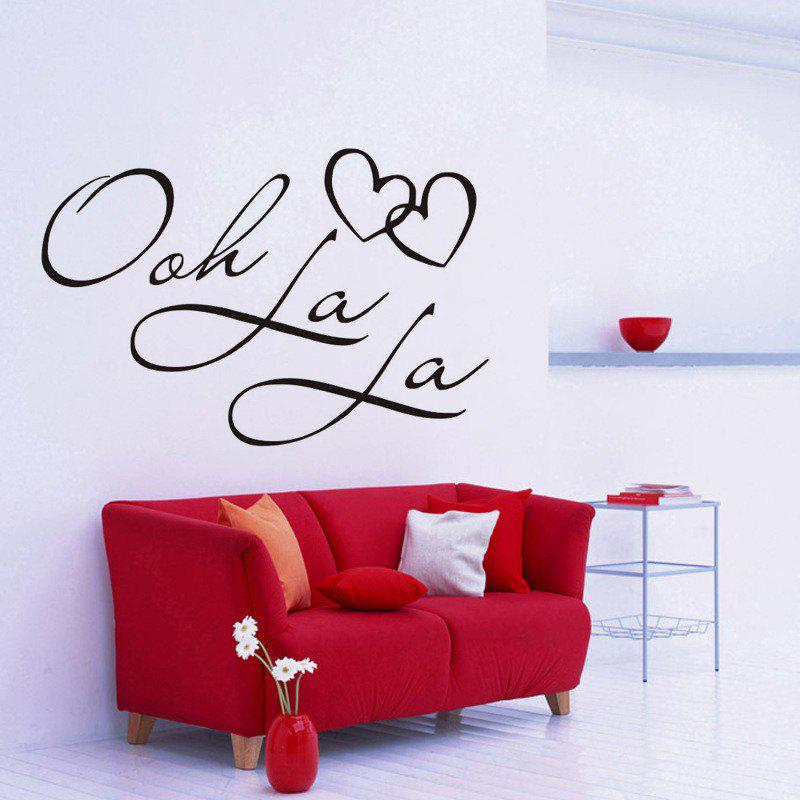 DSU OOH La La Paris France Hearts Love Vinyl Wall Stickers Quotes Bedroom Decorations Home Decor Decal Art - BLACK 58X38CM