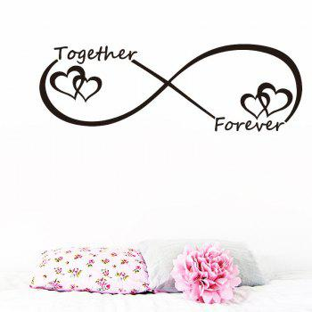 DSU Together Forever Entwined Love Hearts Personalised Wall Art Vinyl Couple Wall Sticker for Bedroom Decor - BLACK 57X19CM