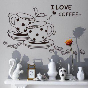 DSU love Coffee Wall Decal Removable Cute Coffee Cup Wall Sticker Kitchen Restaurant Vinyl Wall Stickers - BLACK BLACK