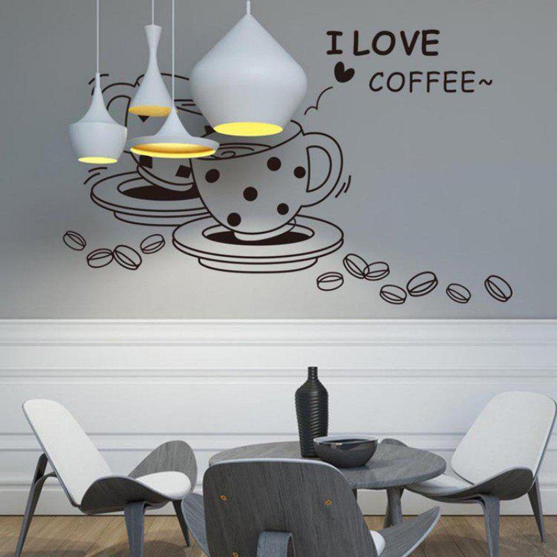DSU love Coffee Wall Decal Removable Cute Coffee Cup Wall Sticker Kitchen Restaurant Vinyl Wall Stickers - BLACK 46X73CM