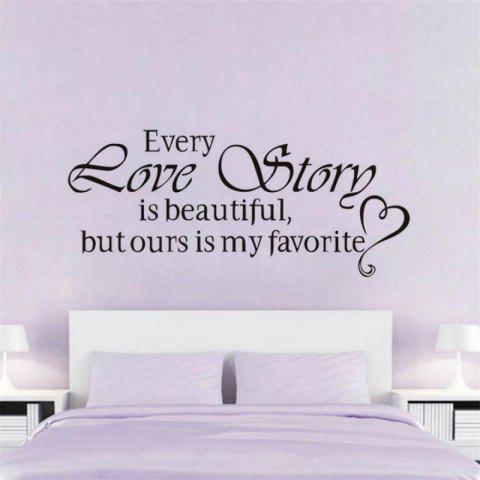 DSU Every Love Story Is Beautiful But Ours Is My Favourite,Wall Stickers Home Decor,Diy Vinyl Wall Stickers,Home Decoration - BLACK 45X20CM