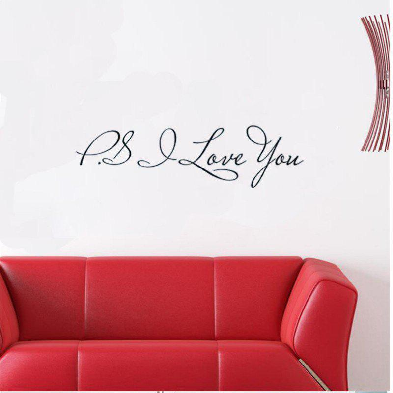 DSU P.S.I LOVE YOU DIY Removable English Wall Stickers Wall Art Decal Mural Decal Background Wall Decoration Stickers - BLACK 58X14CM