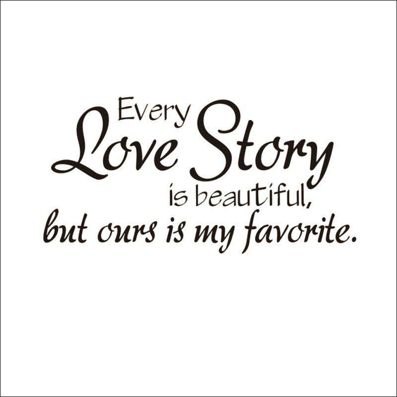 DSU New Arrival Decals Every Love Story Wall Stickers Home Decor Sweet Love Romantic Art Wall Decals Home Decoration - BLACK 58X28CM
