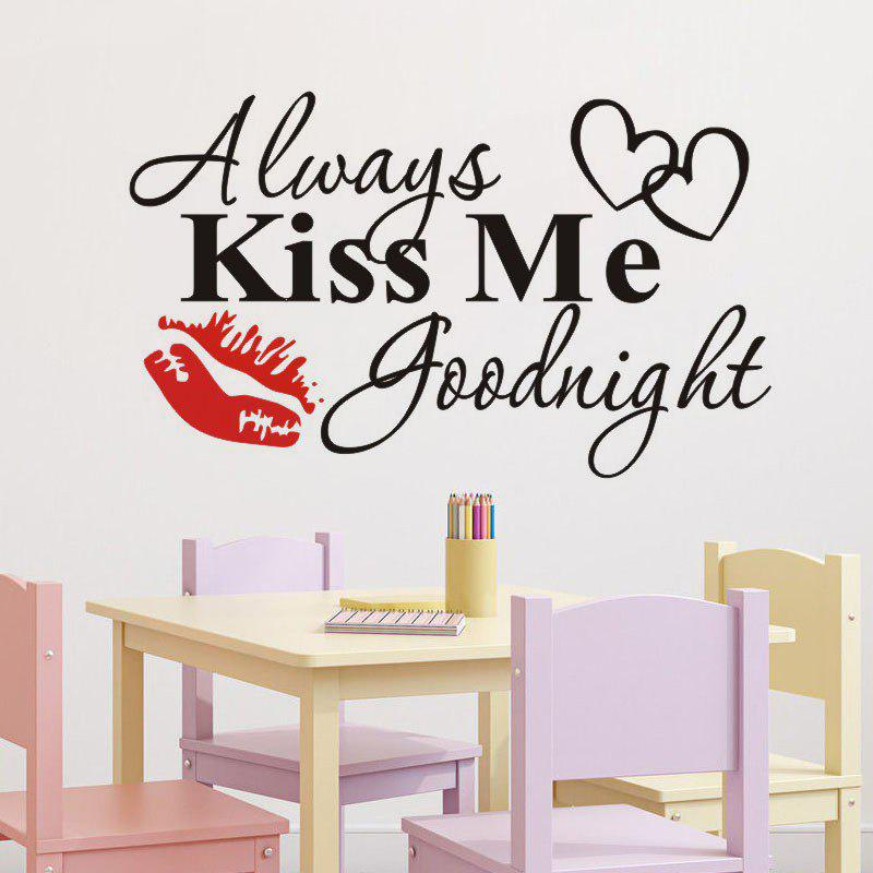 DSU Master Bedroom Wall Decal Quotes Always Kiss Me Goodnight Headboard Wall Stickers Vinyl Removable DIY Modern Home Decor - BLACK 58X33CM