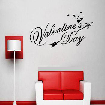 DSU Happy Valentines Day Wall Decal Classic Festiva Vinyl Heart Wall Stickers Interior Windows Home Decor Door Art Mural Decal - BLACK BLACK