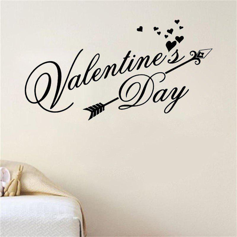 DSU Happy Valentines Day Wall Decal Classic Festiva Vinyl Heart Wall Stickers Interior Windows Home Decor Door Art Mural Decal - BLACK 57X31CM