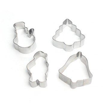 4PCS/SET Christmas Tree Stainless Steel Cookie Mould Fondant Cook Cutters Biscuit Mold Kitchen Baking Tools -  SILVER