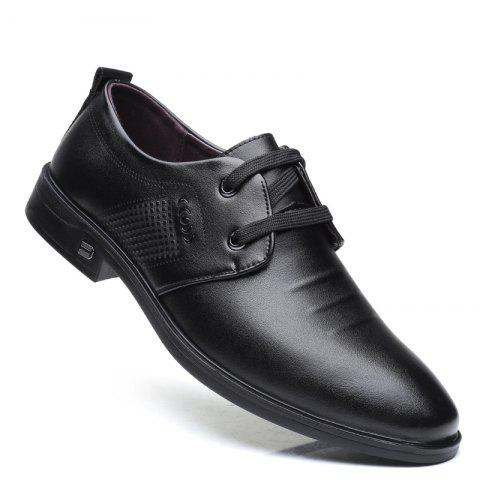 Men Casual Trend of Fashion Rubber Leather Solid Outdoor Busness Wedding Shoes - BLACK 40