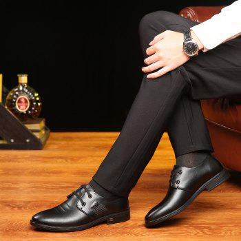 Men Casual Trend of Fashion Rubber Leather Solid Outdoor Busness Wedding Shoes - BLACK 41