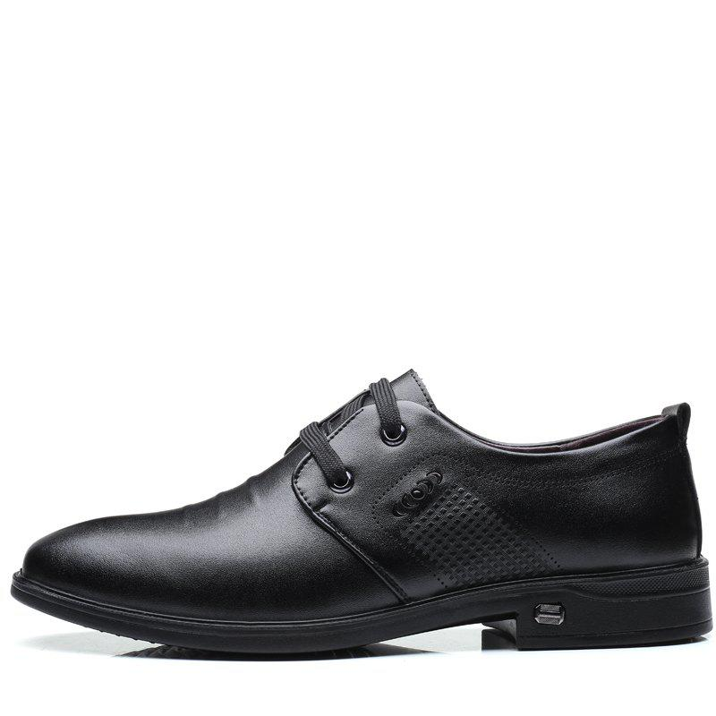 Men Casual Trend of Fashion Rubber Leather Solid Outdoor Busness Wedding Shoes - BLACK 39