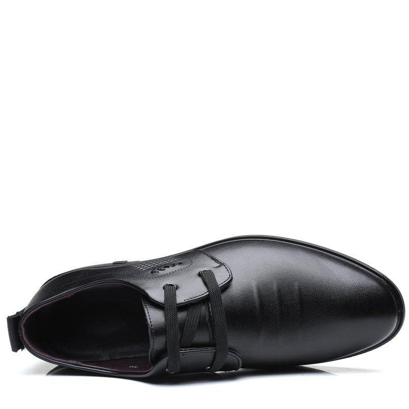 Men Casual Trend of Fashion Rubber Leather Solid Outdoor Busness Wedding Shoes - BLACK 44