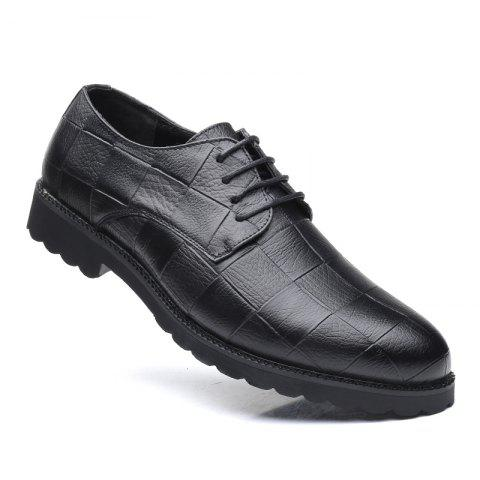 Men Casual Trend of Fashion Rubber Leather Solid Outdoor Wedding Busness Shoes - BLACK 38