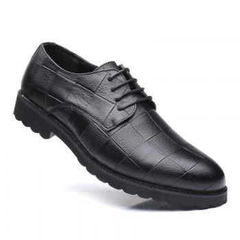 Men Casual Trend of Fashion Rubber Leather Solid Outdoor Wedding Busness Shoes - BLACK BLACK