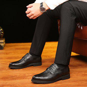 Men Casual Trend of Fashion Rubber Leather Solid Outdoor Wedding Busness Shoes - BLACK 37