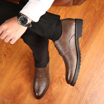 Men Casual Trend of Fashion Rubber Leather Solid Outdoor Wedding Busness Shoes - BROWN D STYLE 39