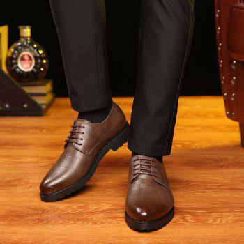 Men Casual Trend of Fashion Rubber Leather Solid Outdoor Wedding Busness Shoes - BROWN D STYLE 40
