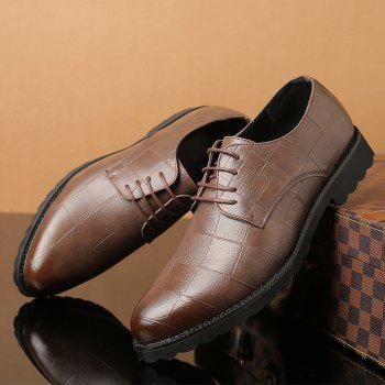 Men Casual Trend of Fashion Rubber Leather Solid Outdoor Wedding Busness Shoes - BROWN D STYLE 37