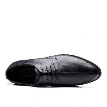 Men Casual Trend of Fashion Rubber Leather Solid Outdoor Wedding Busness Shoes - BLACK 41
