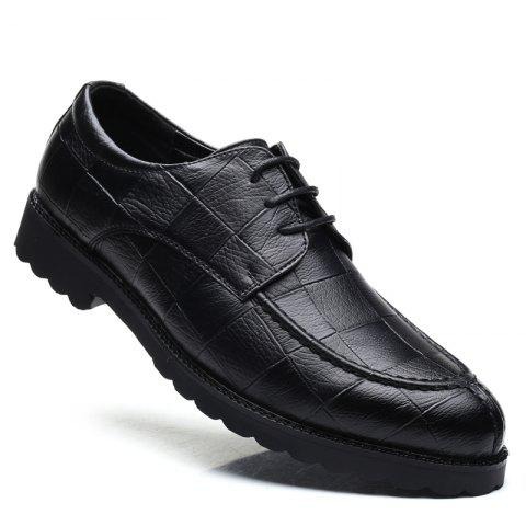 Men Casual Trend of Fashion Rubber Leather Solid Outdoor Wedding Business Shoes - BLACK 42