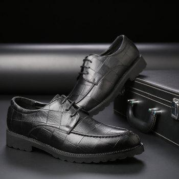 Men Casual Trend of Fashion Rubber Leather Solid Outdoor Wedding Business Shoes - BLACK 44