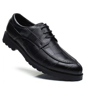Men Casual Trend of Fashion Rubber Leather Solid Outdoor Wedding Business Shoes - BLACK BLACK