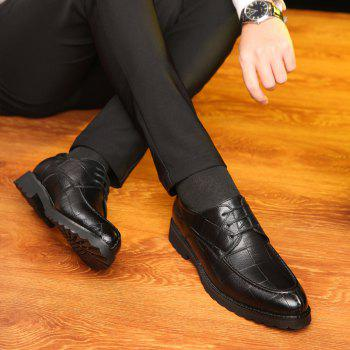 Men Casual Trend of Fashion Rubber Leather Solid Outdoor Wedding Business Shoes - BLACK 40