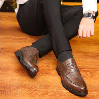 Men Casual Trend of Fashion Rubber Leather Solid Outdoor Wedding Business Shoes - BROWN D STYLE 44