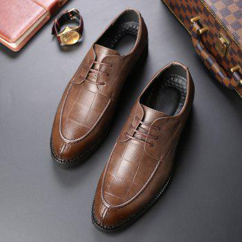 Men Casual Trend of Fashion Rubber Leather Solid Outdoor Wedding Business Shoes - BROWN D STYLE 39
