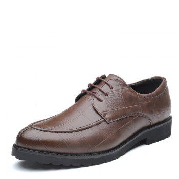 Men Casual Trend of Fashion Rubber Leather Solid Outdoor Wedding Business Shoes - BROWN D STYLE 40