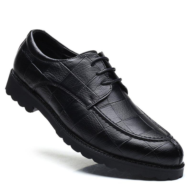 Men Casual Trend of Fashion Rubber Leather Solid Outdoor Wedding Business Shoes - BLACK 41