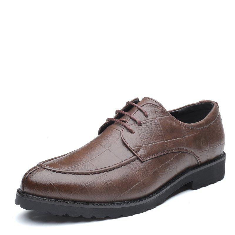 Men Casual Trend of Fashion Rubber Leather Solid Outdoor Wedding Business Shoes - BROWN D STYLE 38