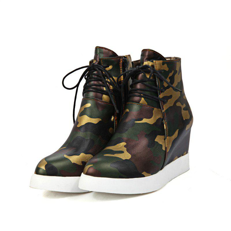 Round Flat-Bottomed High Fashion Camouflage Bare Boots от Dresslily.com INT