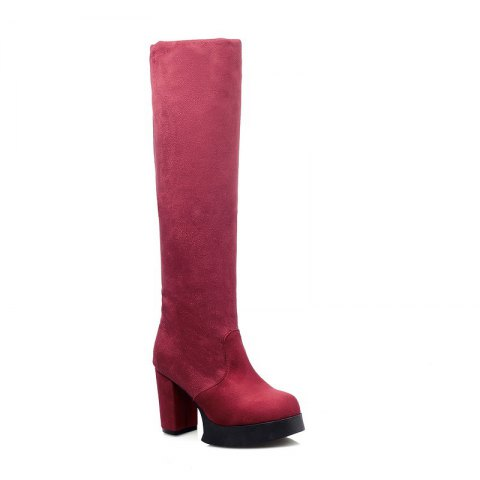 Round Waterproof Platform Rough with High Heel Sexy Wear Two High Boots - RED 37