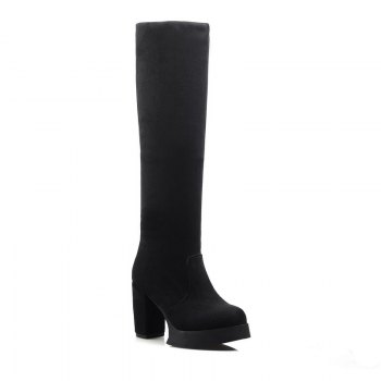 Round Waterproof Platform Rough with High Heel Sexy Wear Two High Boots - BLACK BLACK