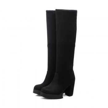Round Waterproof Platform Rough with High Heel Sexy Wear Two High Boots - BLACK 38