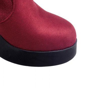 Round Waterproof Platform Rough with High Heel Sexy Wear Two High Boots - RED 39