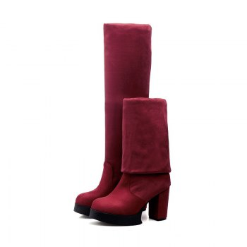Round Waterproof Platform Rough with High Heel Sexy Wear Two High Boots - RED 38
