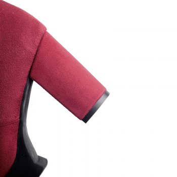 Round Waterproof Platform Rough with High Heel Sexy Wear Two High Boots - RED 35