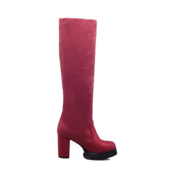 Round Waterproof Platform Rough with High Heel Sexy Wear Two High Boots - RED RED